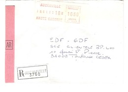 Vignette MOG Guichet HAUTE GARONNE 1983 Aucamville LETTRE RECOMMANDEE EINSCHREIBEN REGISTERED COVER AR - 1981-84 LS & LSA Prototypes