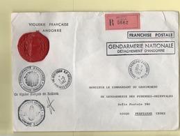 Enveloppe 1982 Recommandée Franchise Viguerie Andorre Detachement Gendarmerie Nationale Perpignan Diffusion Restreinte - Andorra Francese