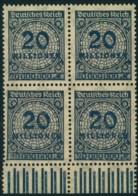 1923, 20 Millionen Korbdeckel Schwarzblau Im Postfrischen Unterrand-Viererblock, Teifst Geprüft - Unused Stamps