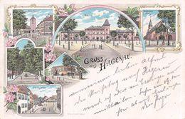 Gruss Aus Hagenau St Nikolaus Kirche - Ritterturm - Parade-Platz - Bahnhof - Litho. - Haguenau