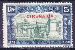 """1930- Italia Regno Colonie CIRENAICA """"pro Previdenza"""" Milizia 3  - Sas  71  MVLH * - V Scan - Cirenaica"""