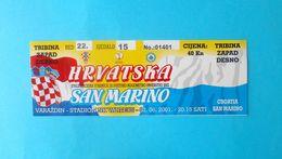 CROATIA V SAN MARINO - 2002 FIFA WORLD CUP Qual. Football Match Ticket * Soccer Fussball Calcio Croazia Kroatien Croatie - Tickets D'entrée