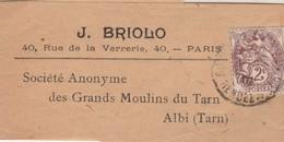 Yvert 108 Type Blanc Sur Bande Journal J Briolo Cachet PARIS Rue Du Rendez Vous 1907 Pour SA Grands Moulins Du Tarn Albi - Poststempel (Briefe)