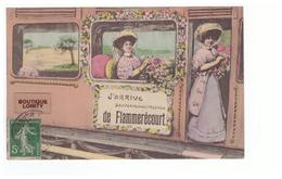 52 Flammerecourt Cpa Carte Fantaisie J' Arrive De Flammerecourt Souvenir De Mon Passage Illustration Train Cachet 1909 - Autres Communes