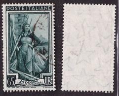 Italia Repubblica, 65 Lire Italia Al Lavoro Filigrana Stelle Usato       -AM36 - 6. 1946-.. Republik
