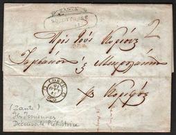 PREPHILATELIE (Grèce) Marque Postale Zante 20/10/1845 En Bleu- Vert Et Corfu (Corfou) 21/10/1845 En Noir + ............ - ...-1861 Préphilatélie