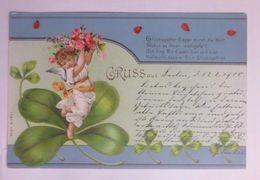 """""""Neujahr, Engel, Blumen, Kleeblatt, Marienkäfer"""" 1900 ♥  - Nouvel An"""