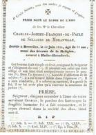 BRUXELLES / NEDER HEEMBEEK - Charles Joseph De SELLIERS De MORANVILLE - Décédé 1844 Enterré à Neder-Heembeek - Images Religieuses