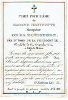 Marquise Henriette De La BOËSSIERE - Née DU BOIS De La FERRONIERE - Décédée 1842 - Images Religieuses