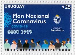 1714 URUGUAY 2020- Plan Nac.Coronavirus-TT: Escudos,Medicina,Faros,Gente - Uruguay