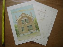 1929 Planche MAISONS POUR TOUS Petites Villas PROPRIETE A LIMOURS Thézard 24,5 X 32,5 Cm - Architecture