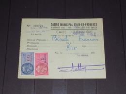CARTE JOURNALIERE CASINO MUNICIPAL AIX EN PROVENCE 1955 - Old Paper