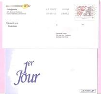 """2010. PAP De Service TSC Phil@poste MonTimbreaMoi  """" Monde 50 G - Premier Jour """". Avec Carte. Circulé. - Ganzsachen"""