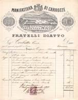 """01540 """"TORINO - FRATELLI DIATTO - MANIFATTURA DI CARROZZE - MEDAGLIA DI BRONZO ALESSANDRIA -1882"""" FATTURA - Italy"""