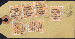 """Ireland 1922 Thom Rialtas Black Opt 2d Die 2 """"Hole In 1"""" Variety Used On Parcel Tag - 1922 Governo Provvisorio"""
