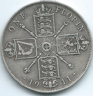 United Kingdom / Great Britain - 1911 - Florin / 2 Shillings - George V - KM817 - 1902-1971 : Post-Victorian Coins