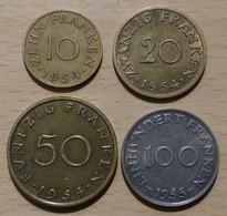 Sarre Série Des 4 Monnaies De 1954 - 1955 - Saarland