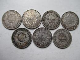 1  FRANC  CERES    -  7   PIECES  EN  ARGENT  NON  NETTOYEES - H. 1 Franc