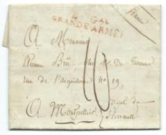 MARQUE POSTALE BUREAU GENERAL GRANDE ARMEE OSTERODE LA PRUSSE POUR MONTPELLIER 1807 - Marques D'armée (avant 1900)