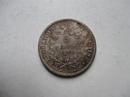 CINQ  FRANCS  DUPRE    EN  ARGENT  1876  A   ,    PIECE  NON  NETTOYEE - J. 5 Francs