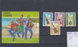 Kap Verde Michel Cat.no. Mnh/** 620/623 + Sheet 19 Music - Islas De Cabo Verde