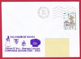 4013 Marine, PH Jeanne D'Arc, Campagne 2001-2001, Escale Salvador  De Bahia, Brésil, Oblit. Mécanique JDA, 19-02-2002, T - Posta Marittima