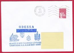 4027 Marine, PH Jeanne D'Arc, Campagne 2001-2002, Escale à Odessa, Ukraine, Oblit. Mécanique JDA, 1-04-2002, Marianne De - Posta Marittima
