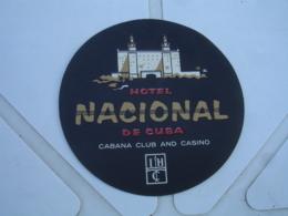Etiquette Hotel Valise  Luggage Hotel Nacional De Cuba Cabana Club Et Casinoo Vintage - Adesivi Di Alberghi