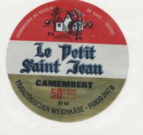 Y 181   /  ETIQUETTE DE  FROMAGE -  CAMEMBERT LE PETIT SAINT JEAN  GAYE  MARNE  .  51 M. - Fromage