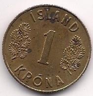 ISLANDIA - 1 KRONA DE 1965 - Islande