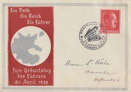DR Sonderumschlag Zum Geburtstag 20.4.38 EF Minr.664 SST Braunau 20.4.38 - Covers & Documents