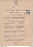 Au Plus Rapide Comune Di Vicopisano Pisa Stato Civile Atti Di Nascita Timbre Fiscal 11 Gen 1933 - 1900-44 Vittorio Emanuele III