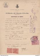 Au Plus Rapide Comune Di Pisa Ufficio Di Stato Civile Certificato Di Morte Timbre Fiscal 3 Novembre 1924 - 1900-44 Vittorio Emanuele III