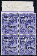 "Ireland 1922 Dollard Black 2 1/2d Marginal Block Of 4 Out-of-alignment And ""Broken R"" - 1922 Governo Provvisorio"