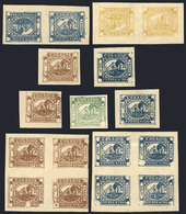 ARGENTINA: BARQUITOS: Lot Of Arata Reprints, Including 2 Blocks Of 4 And 2 TETE-BECHE Pairs, VF Quality, Interesting! - Buenos Aires (1858-1864)