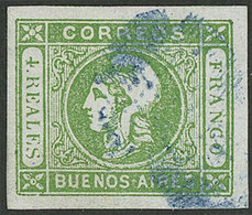 ARGENTINA: GJ.16, 4R. Green, Semi-clear Impression, With Handsome Blue Ponchito Cancel Of San Nicolás, VF Quality! - Buenos Aires (1858-1864)