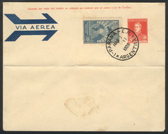 ARGENTINA: GJ.637, 1928 10c. Green Blue, On Cover With Cancel Of Paraná For 1/MAR/1928 (first Day Of Issue), Rare! - Poste Aérienne