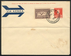 ARGENTINA: GJ.649, 1928 90c. Chestnut, On Cover With Cancel Of Paraná For 1/MAR/1928 (first Day Of Issue), Rare! - Poste Aérienne