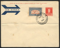 ARGENTINA: GJ.650, 1928 1P. Blue And Red, On Cover With Cancel Of Paraná For 1/MAR/1928 (first Day Of Issue), Rare! - Poste Aérienne