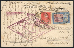 ARGENTINA: GJ.663, Zeppelin 1.80P. With Blue Overprint + 5c. S.Martín Franking A PC Sent By ZEPPELIN From Buenos Aires T - Poste Aérienne