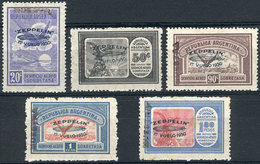 ARGENTINA: GJ.665/669, 1930 Zeppelin, Cmpl. Set Of 5 Values With GREEN Overprint, Also With Handstamped MUESTRA Overprin - Poste Aérienne