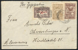 ARGENTINA: GJ.722, 90c. Zeppelin + 2 Stamps (total 1.41P.) Franking A Cover Sent By ZEPPELIN From Buenos Aires To German - Poste Aérienne