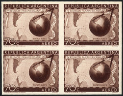 ARGENTINA: GJ.962, 1949 Cartography, PROOF In Brown, Imperforate Block Of 4 Printed On Opaque Paper, Excellent Quality,  - Poste Aérienne