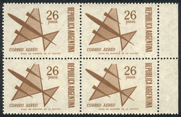 ARGENTINA: GJ.1427, 1967 26P. Stylized Airplane, Block Of 4 Stamps With DOUBLE IMPRESSION, One Faint, Excellent Quality, - Poste Aérienne