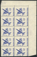 ARGENTINA: GJ.1434, 1967 78P. Stylized Airplane, Block Of 10 Stamps With Shifted Perforation (over The Printer Imprint,  - Poste Aérienne