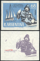 ARGENTINA: GJ.1447, 1968 Vito Dumas (single-handed Sailor), PROOFS Printed On The Paper Used For The Issue (with Gum And - Poste Aérienne