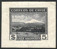 CHILE: Yvert 177, 1938/50 5P. Villarrica Lake (ship, Volcano), DIE PROOF In Black, VF Quality, Rare! - Chile