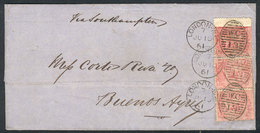 """GREAT BRITAIN: 10/JUN/1861 LONDON - Buenos Aires: Folded Cover Franked With Strip Of 3 Sc.26, """"W.C 13"""" Duplex Cancel, Ve - 1840-1901 (Viktoria)"""