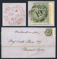 """GREAT BRITAIN: 9/SE/1861 LONDON - Buenos Aires: Folded Cover Franked By Sc.28 (corner Defect), With Numeral """"19"""" Cancel, - 1840-1901 (Viktoria)"""