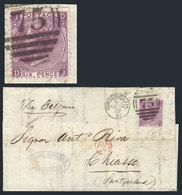 "GREAT BRITAIN: 10/AU/1869 BIRMINGHAM - Switzerland: Folded Cover Franked By Sc.51a Plate 8, Duplex Cancel, Red ""PD"" In C - 1840-1901 (Viktoria)"